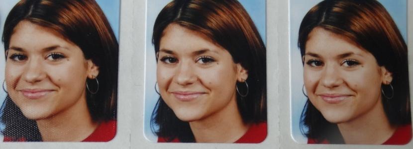 Foto von drei Passbildern, darauf ein Mädchen mit dunklen Haaren, großen Ohrringen, pinkfarbenem Oberteil.
