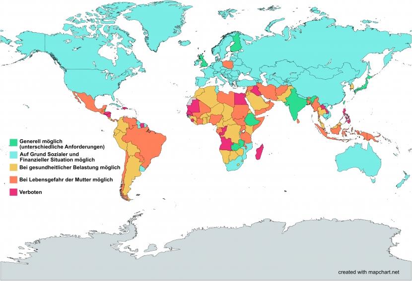 Weltkarte zur Übersicht der Abtreibungsgesetze