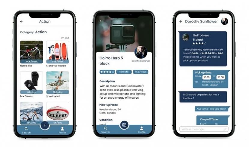 Die Mockups der App zeigen das Design der Seiten zum Filtern, Ausleihen und Bewerten.