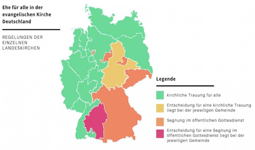 Infografik der Evangelischen Landeskirchen in Deutschland mit ihren jeweiligen Regelungen zur Ehe für alle