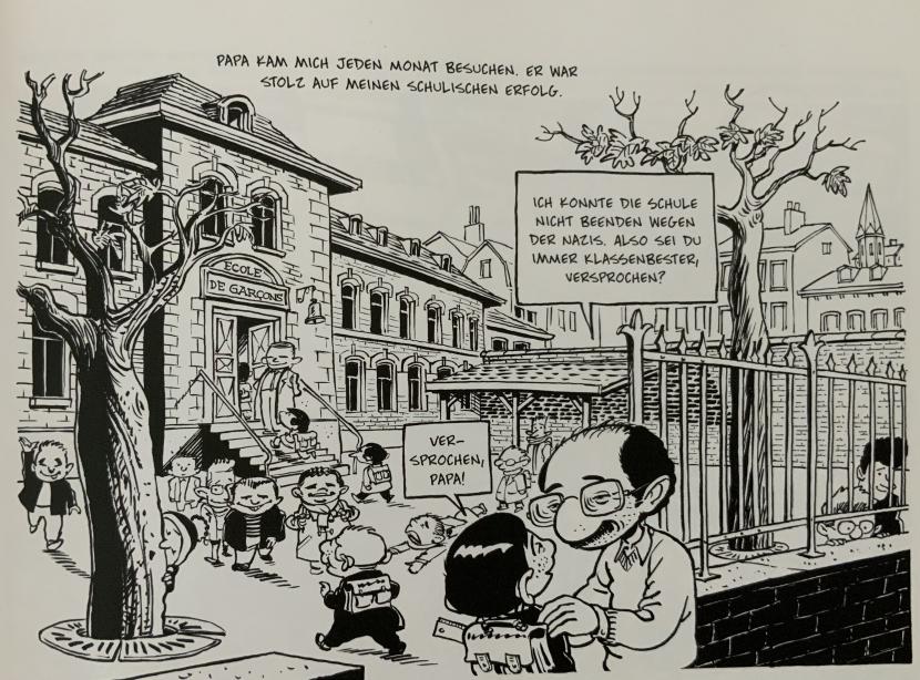 Henri and Michel Kichka infront of the school.
