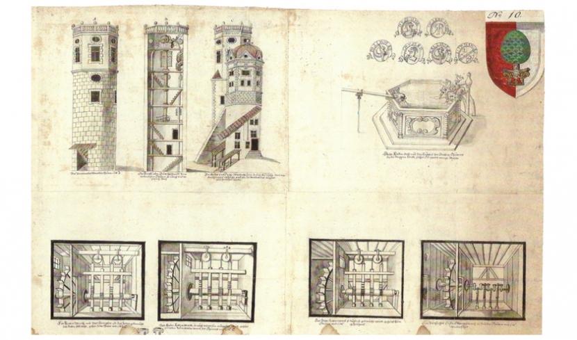 Die technischen Zeichnungen aus dem 16. Jahrhundert zeigen die historischen Wassertürme des Wasserwerks.