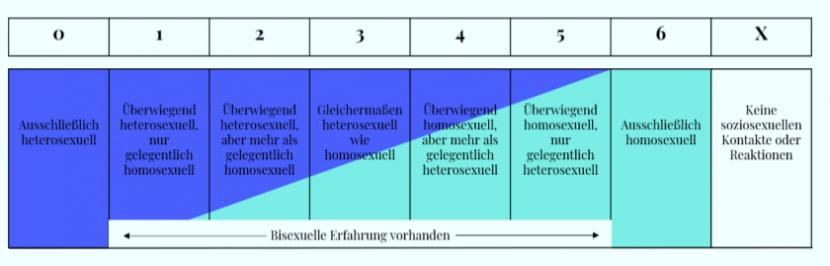 Kinseys Skala zur Einstufung menschlicher Sexualität. Kategorien 1-6 von reiner Heterosexualität, über tendenzielle Bisexualität, bis zu reiner Homosexualität. Kategorie X für Asexualität.