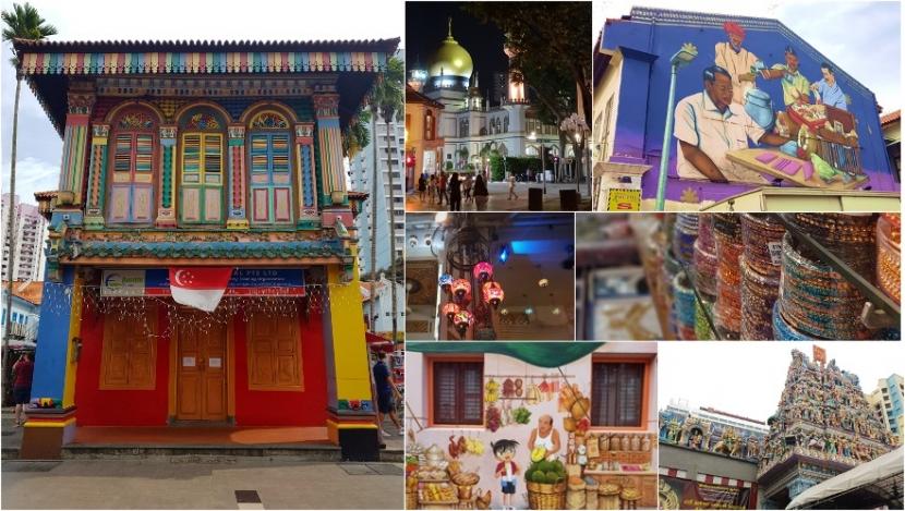 Eine Kollage aus Bilder von Little India, Masjid Sultan Moschee, Arab Street, China Town, hinduistischer Tempel.