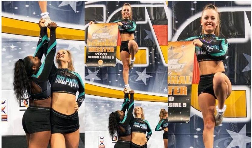 Cheerleader machen eine Hebefigur