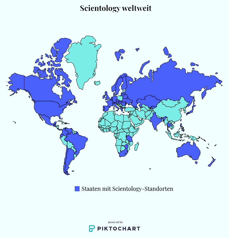 Eine Weltkarte zeigt dunkel eingefärbt die Staaten der Welt, in denen Scientology Standorte hat. Ganz Nordamerika, Russland, große Teile von Europa und Südamerika sind u.a. eingefärbt.