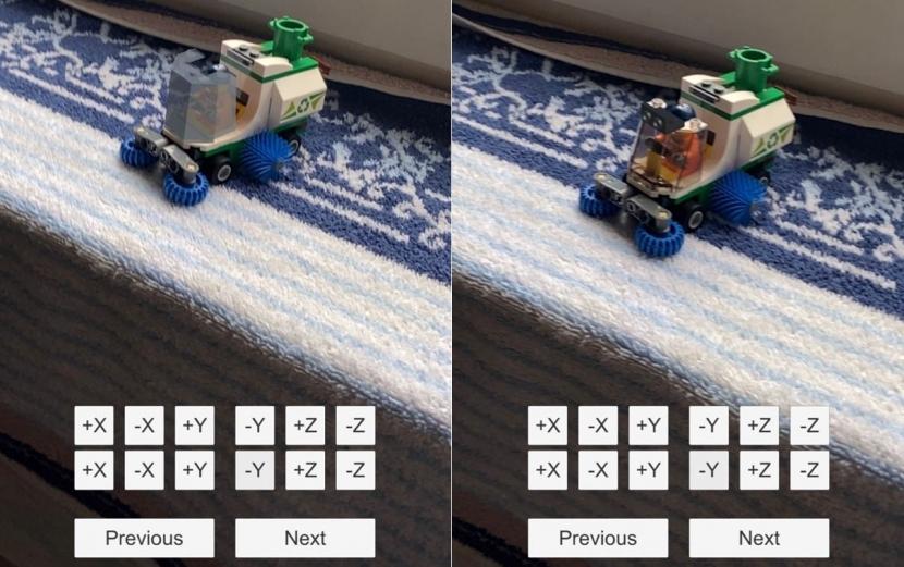 Die App zeigt an, wo das Fenster der Kehrmaschine eingesetzt werden muss (linkes Bild).