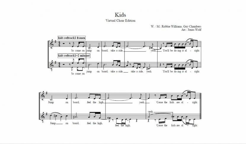 Der erste Abschnitt der Noten vom Popsong Kids von Sänger Robbie Williams.