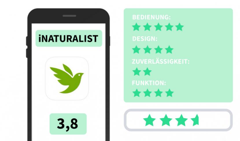 Bewertung iNaturalist App mit 3,8 Sternen